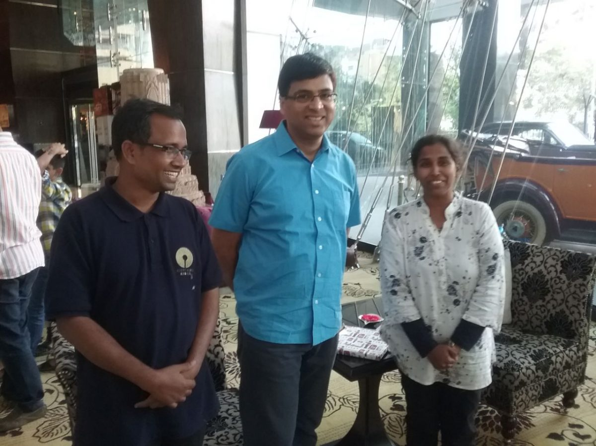 Vishy Anand meets ATC co-founders Mr and Mrs Dayanand